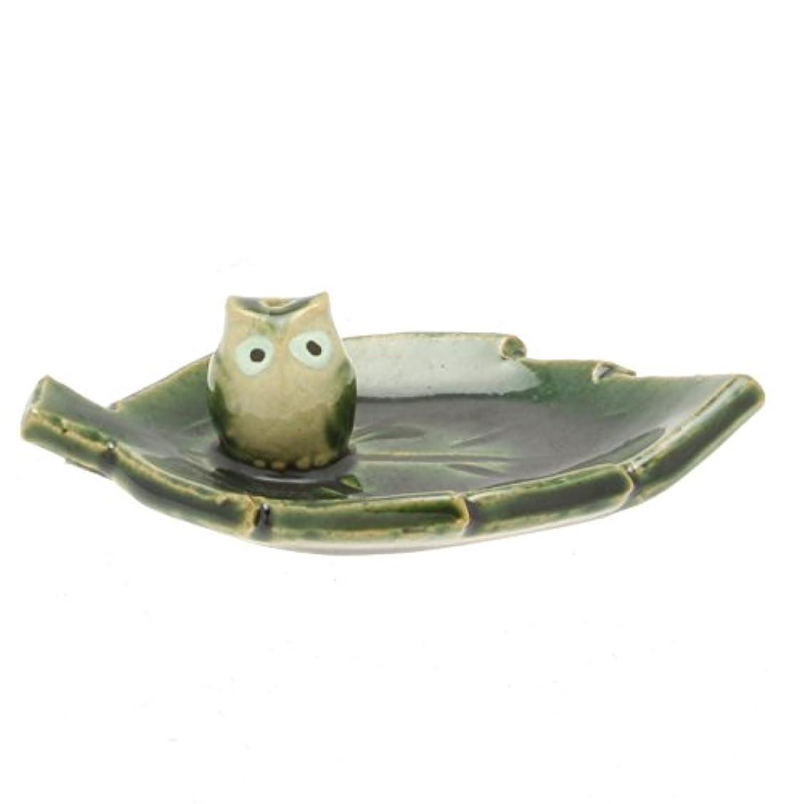 騙す原告権威Japanese Incense Stand :グリーンOribeフクロウと葉