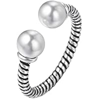 Thai Silver Open Ring Synthetic Pearl Adjustable Rings for Girls Punk Jewelry