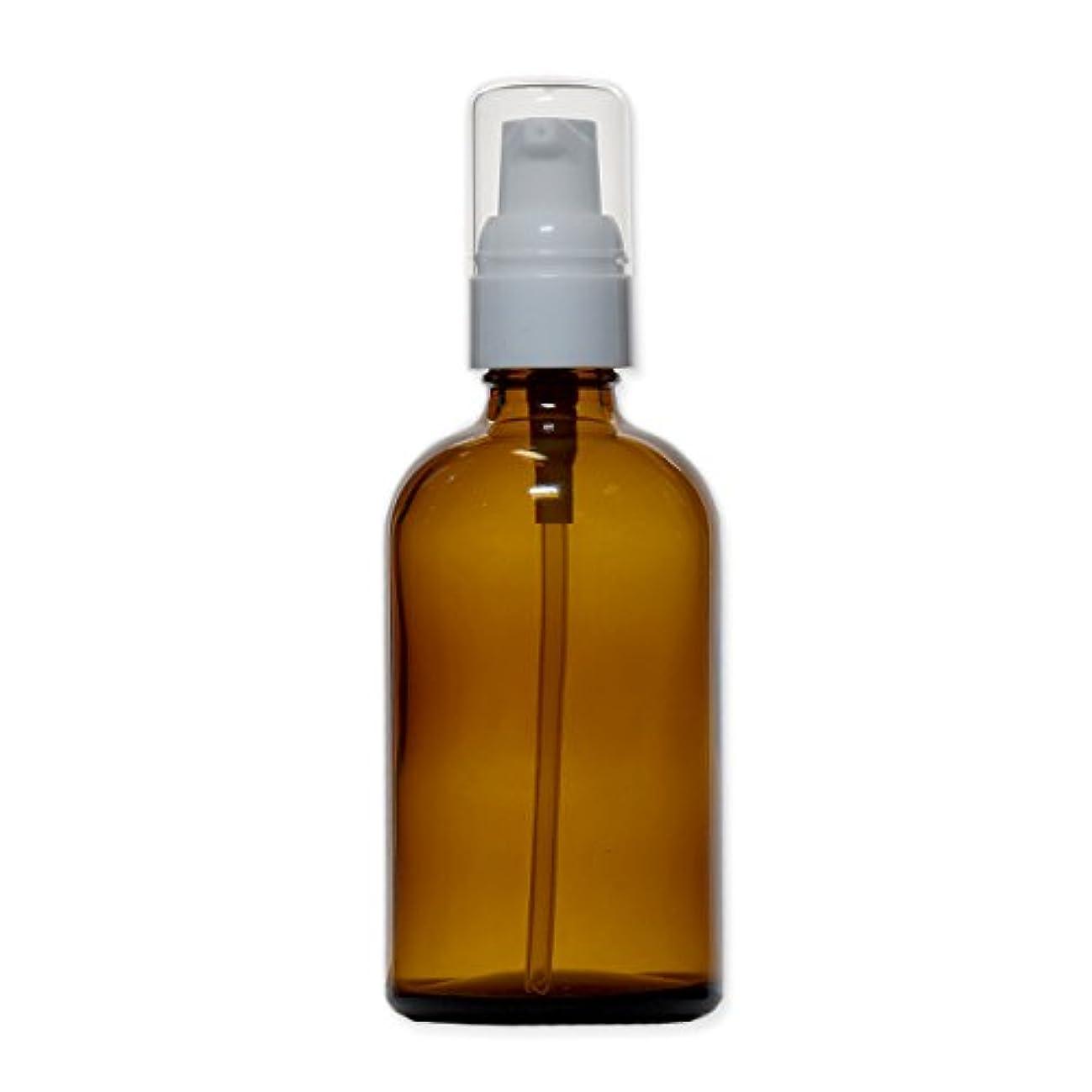 [白キャップ] 茶色 (アンバー) ガラスポンプボトル 100ml
