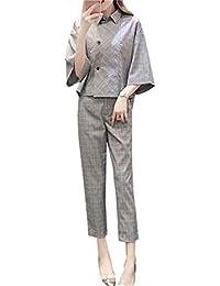YeeNoke セットアップ レディース 2点セット パーティードレス パンツ スーツ ケープ チェック柄 カジュアル 通勤 結婚式 お呼ばれ ビジネス フォーマル 大きいサイズ