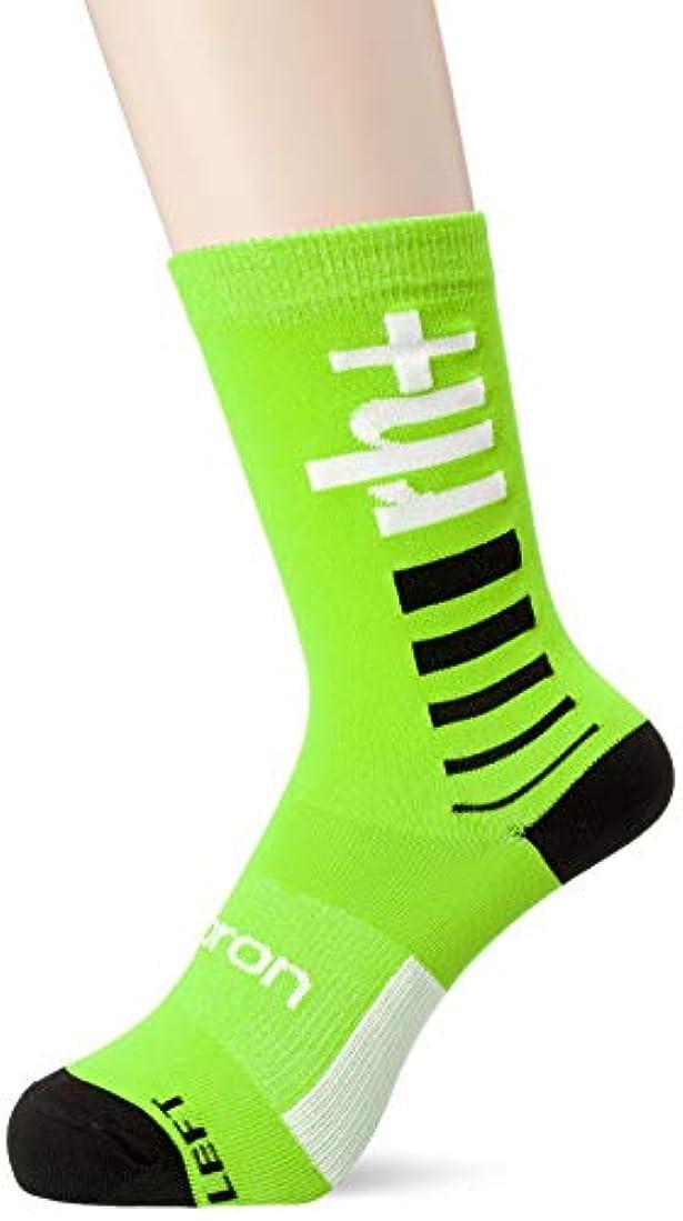 メディア曲げる耕す[アールエイチプラス] ECX9107 Logo Sock 15 89F Fluo Green-White-Black S/M サイクルソックス