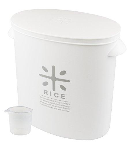 日本製 米びつ 5kg ホワイト 計量カップ付 お米 袋のまま ストック RICE HB-3433
