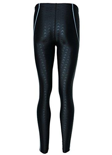 BANFEI Men's Base Compression Diving Leggings Pants Swimming Long Pants Surfing Tights M Black (Grey Stripe)