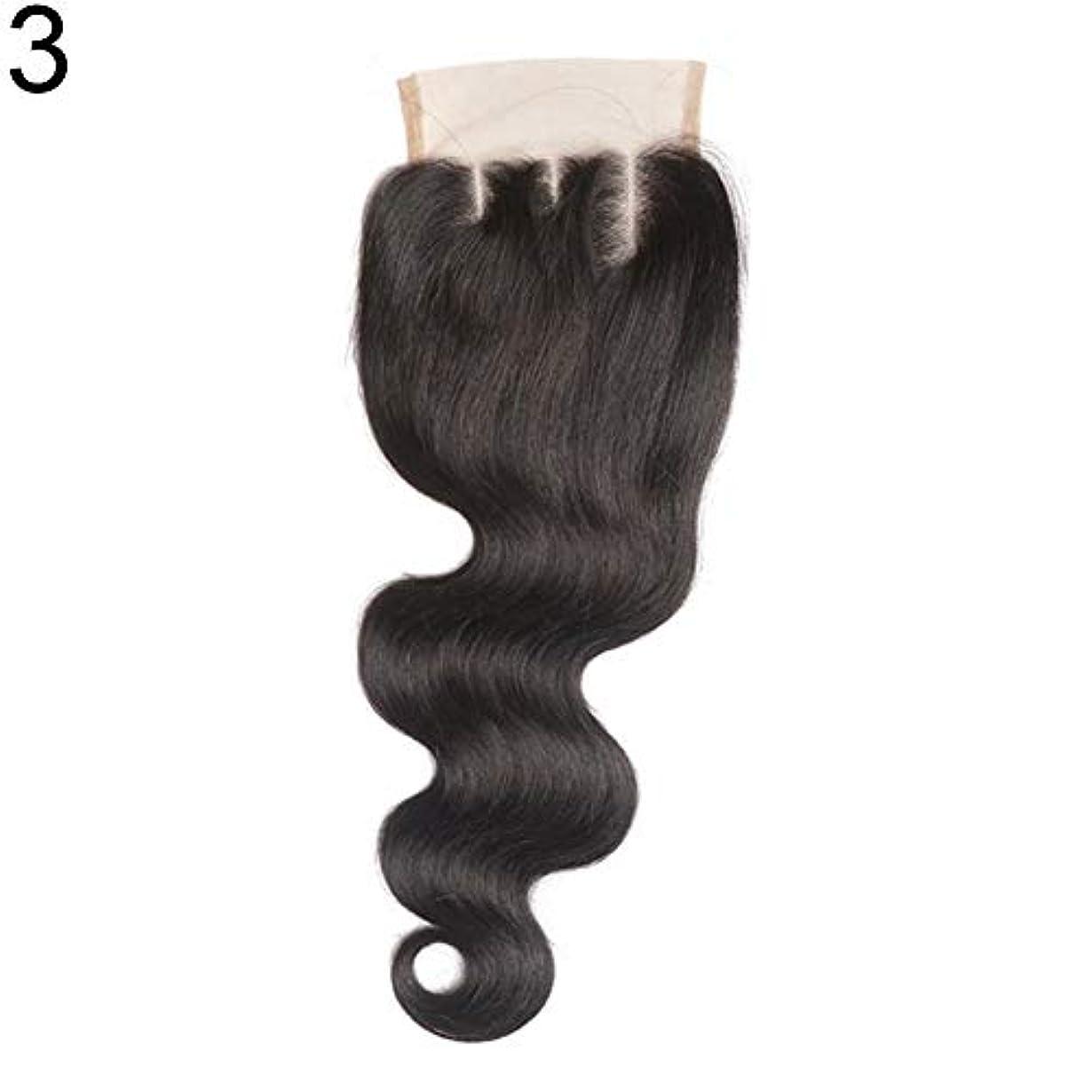 政権ロッド見積りslQinjiansav女性ウィッグ修理ツールブラジルのミドル/フリー/3部人間の髪のレース閉鎖ウィッグ黒ヘアピース
