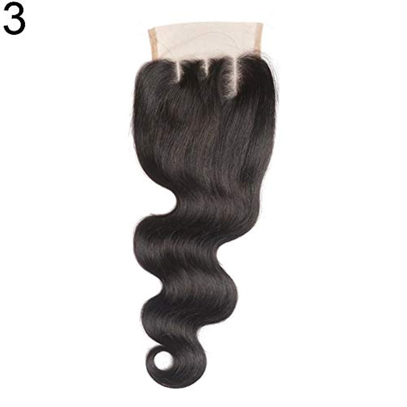 本質的に誤解キノコslQinjiansav女性ウィッグ修理ツールブラジルのミドル/フリー/3部人間の髪のレース閉鎖ウィッグ黒ヘアピース