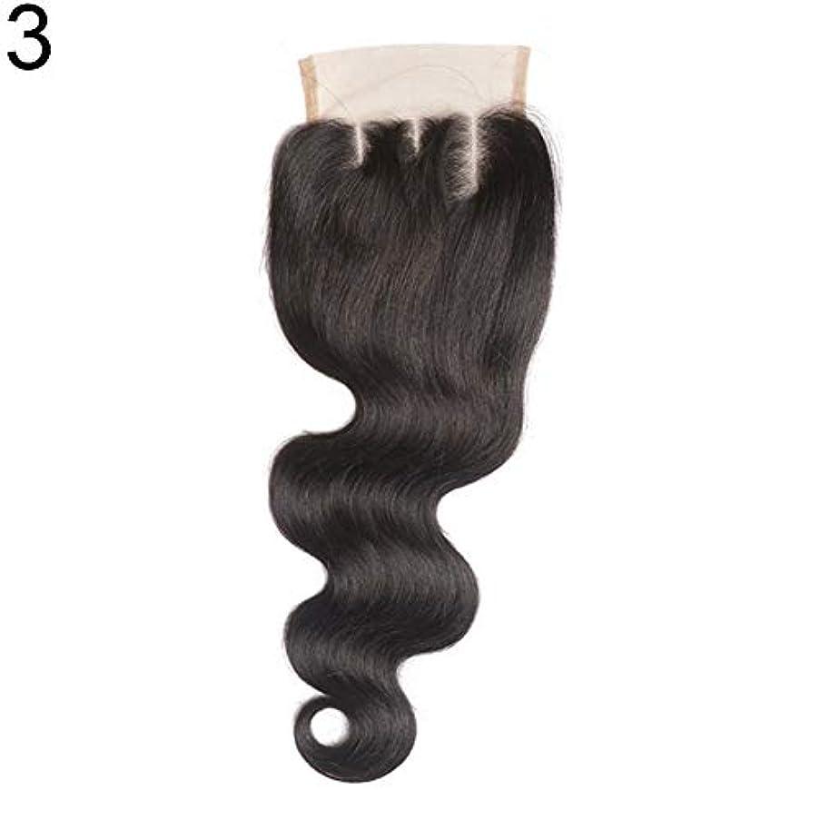 モネ通り抜けるに対してslQinjiansav女性ウィッグ修理ツールブラジルのミドル/フリー/3部人間の髪のレース閉鎖ウィッグ黒ヘアピース