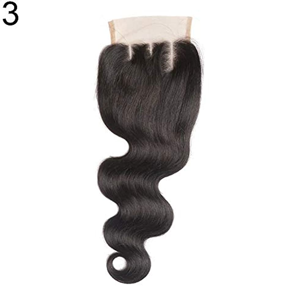 硬化するエンディングふつうslQinjiansav女性ウィッグ修理ツールブラジルのミドル/フリー/3部人間の髪のレース閉鎖ウィッグ黒ヘアピース