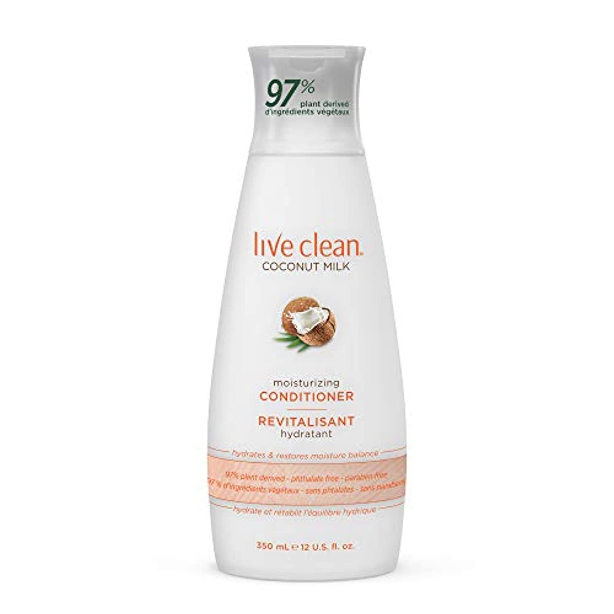 Live Clean ココナッツミルクモイスチャライジングコンディショナー、12オンス。