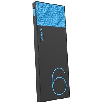 SQ 大容量モバイルバッテリー 6000mAh 軽量 超薄型 2.1A出力 スマホ急速充電可 iPhone Android対応 ブルー