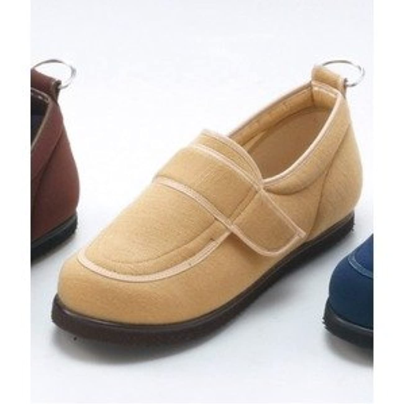 洗練された侵入ラップ介護靴/リハビリシューズ ベージュ LK-1(外履き) 【片足25.5cm】 3E 左右同形状 手洗い可/撥水 (歩行補助用品) 日本製