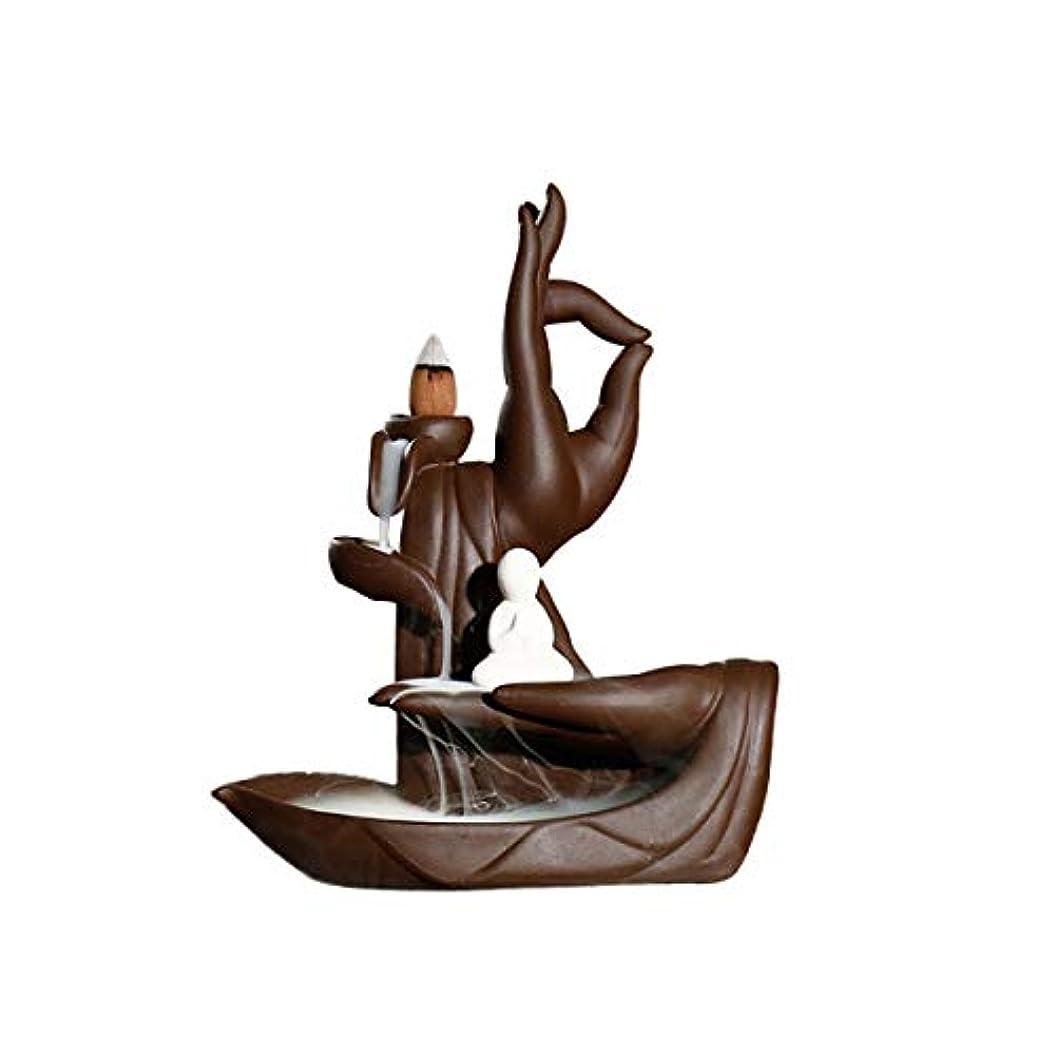 妖精スロープ免除するLIOOBO 逆流香バーナー逆転ベルガモット観音仏セラミック釉香スモークコーンバーナー逆流香炉タワーホルダー禅ガーデンテーブルの装飾