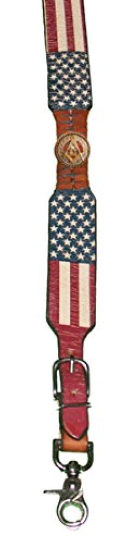 カスタムMasonic正方形とコンパスアメリカ国旗レザーサスペンダーズボン吊りまたはブレース