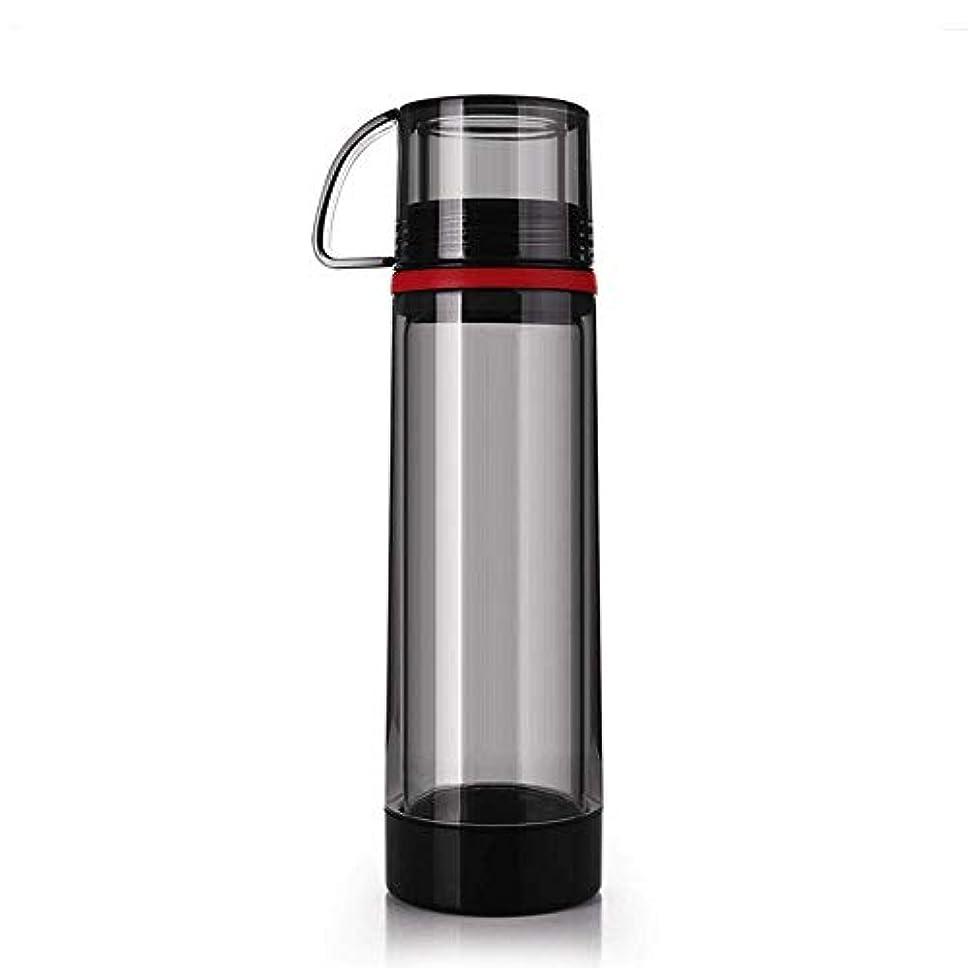 地域とんでもない画家ふたのコップの携帯用カーカップが付いている二重層ガラス屋外スポーツの防滴ボトル,Black