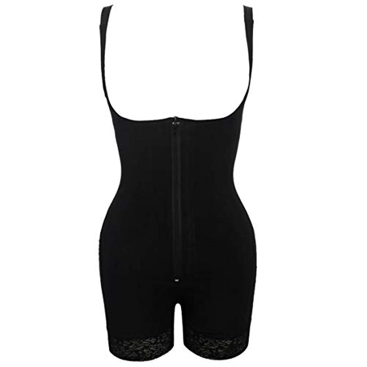 アレルギー超える更新するプラグサイズ女性スリムアンダーウェアボディスーツシェイプウェアレディーアンダーバストボディシェイパー ランジェリープラスサイズウエストトレーナー-ブラック-S