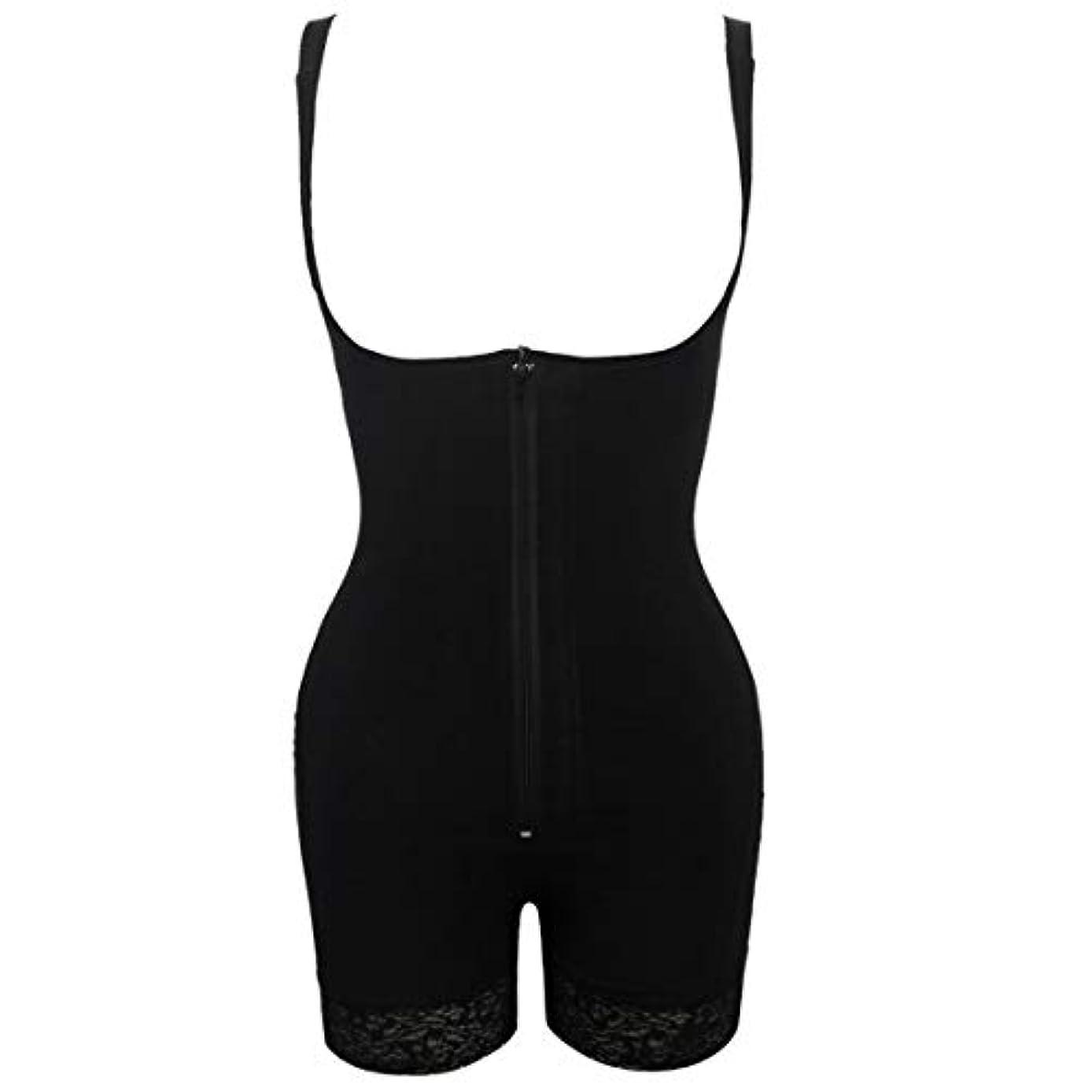 クーポンデータ飢えプラグサイズ女性スリムアンダーウェアボディスーツシェイプウェアレディーアンダーバストボディシェイパー ランジェリープラスサイズウエストトレーナー-ブラックS
