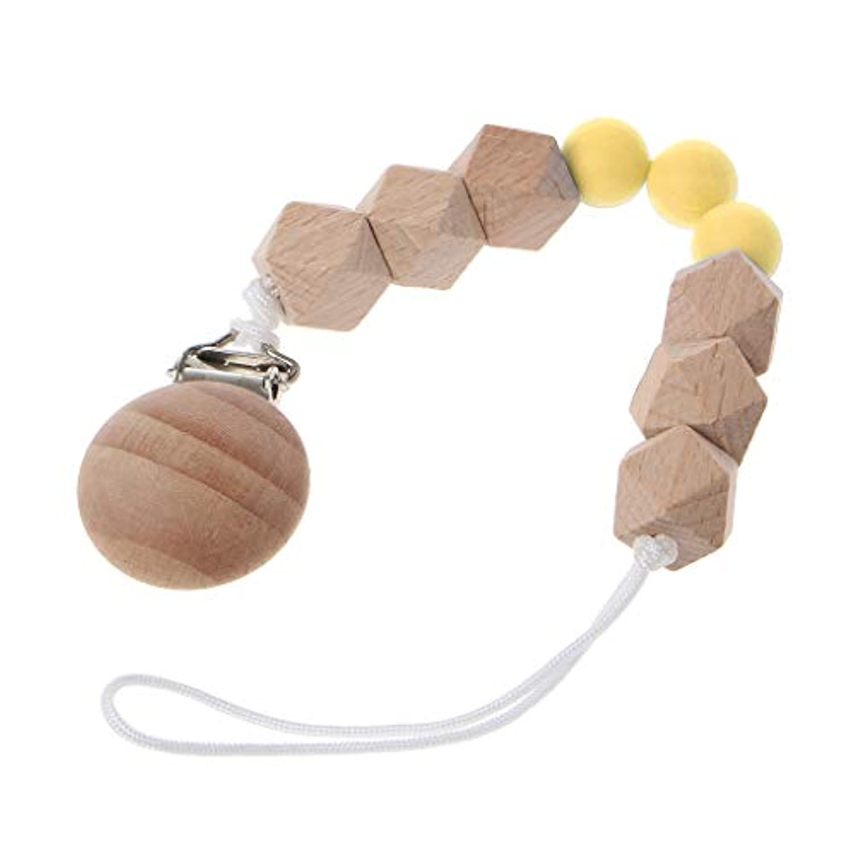 Dabixx 木製のおしゃぶりのチェーン 八角形木製ビーズチェーン 赤ちゃんの看護玩具噛むおもちゃの歯ぬいぐるみ玩具 - 黄