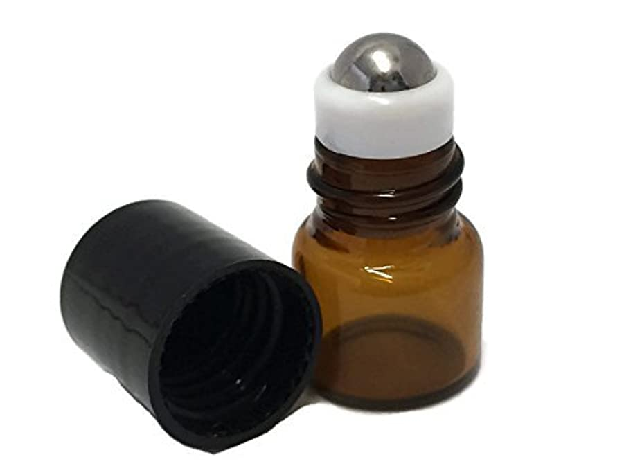 USA 144-1 ml (1/4 Dram) Amber Glass Micro Mini Roll-on Glass Bottles with Stainless Steel Roller Balls - Refillable...