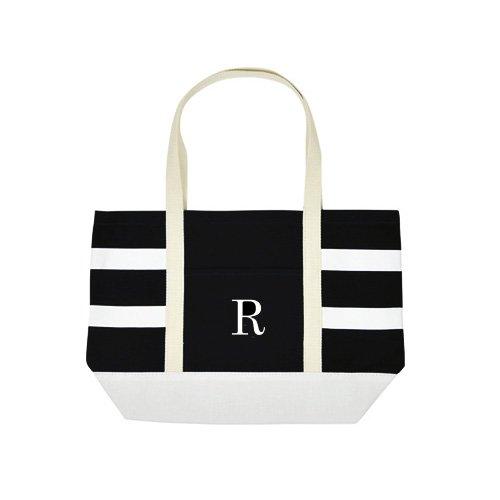 【mistura】前ポケット付き トートバッグ イニシャル エコバッグ ブラック ホワイト イニシャルR