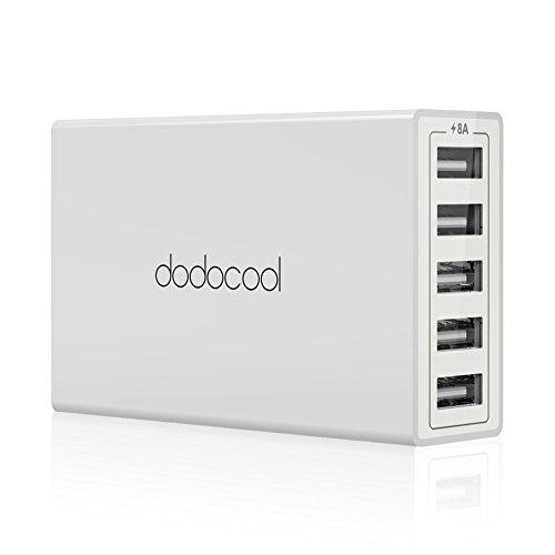 dodocool 5ポート USB 充電器 旅行壁式 ACチャージャー 1.5メートル AC電源コード 付き iPhone/ Android スマートフォン タブレット用 米国のプラグ