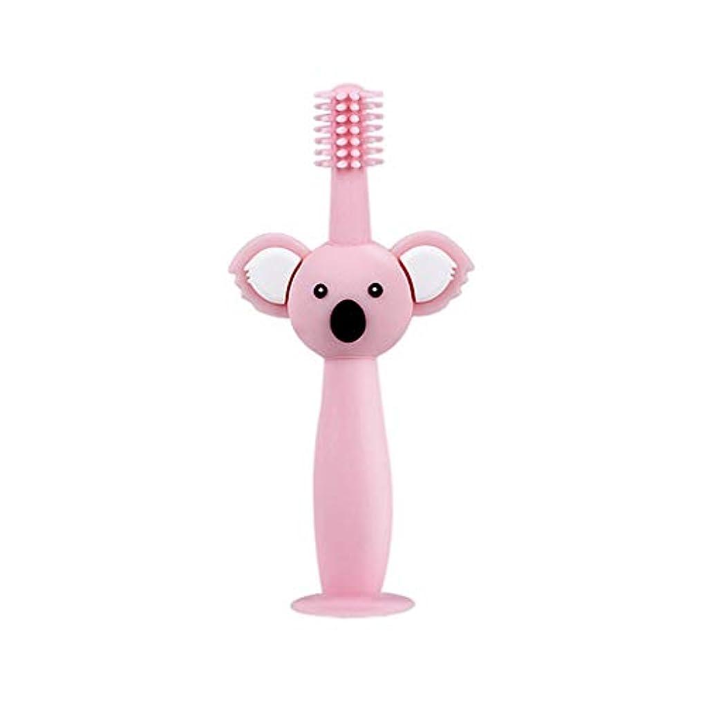 荒れ地行彼女自身Biuuu 360°赤ちゃん歯ブラシコアラ頭ハンドル幼児ブラッシング歯トレーニング安全なデザインソフト健康シリコーン幼児口腔ケア (ピンク)