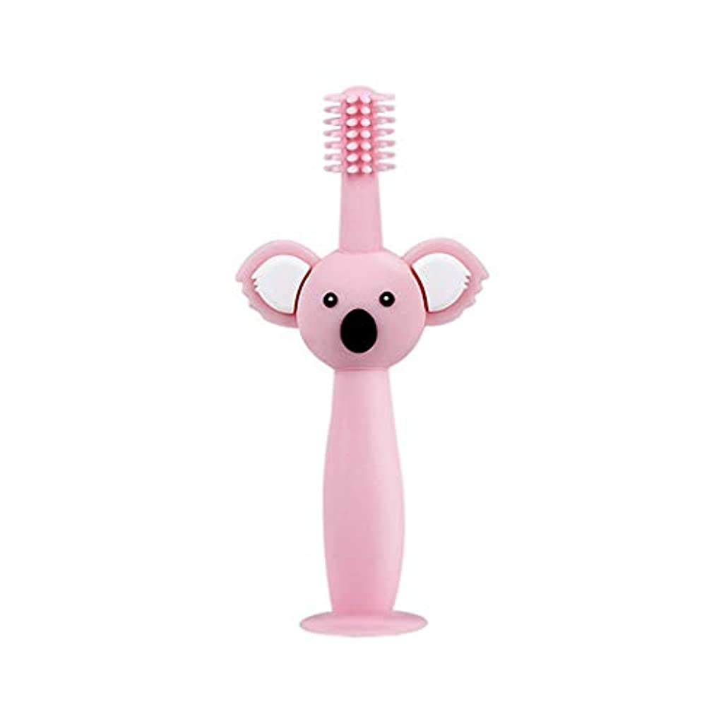 スタウト透けて見えるブルジョンBiuuu 360°赤ちゃん歯ブラシコアラ頭ハンドル幼児ブラッシング歯トレーニング安全なデザインソフト健康シリコーン幼児口腔ケア (ピンク)