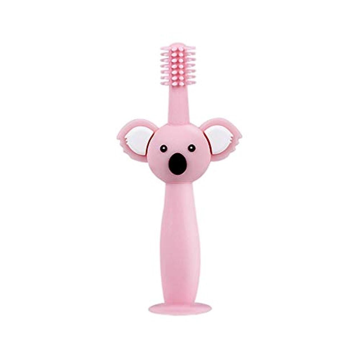 効能あるレンディション少なくともBiuuu 360°赤ちゃん歯ブラシコアラ頭ハンドル幼児ブラッシング歯トレーニング安全なデザインソフト健康シリコーン幼児口腔ケア (ピンク)