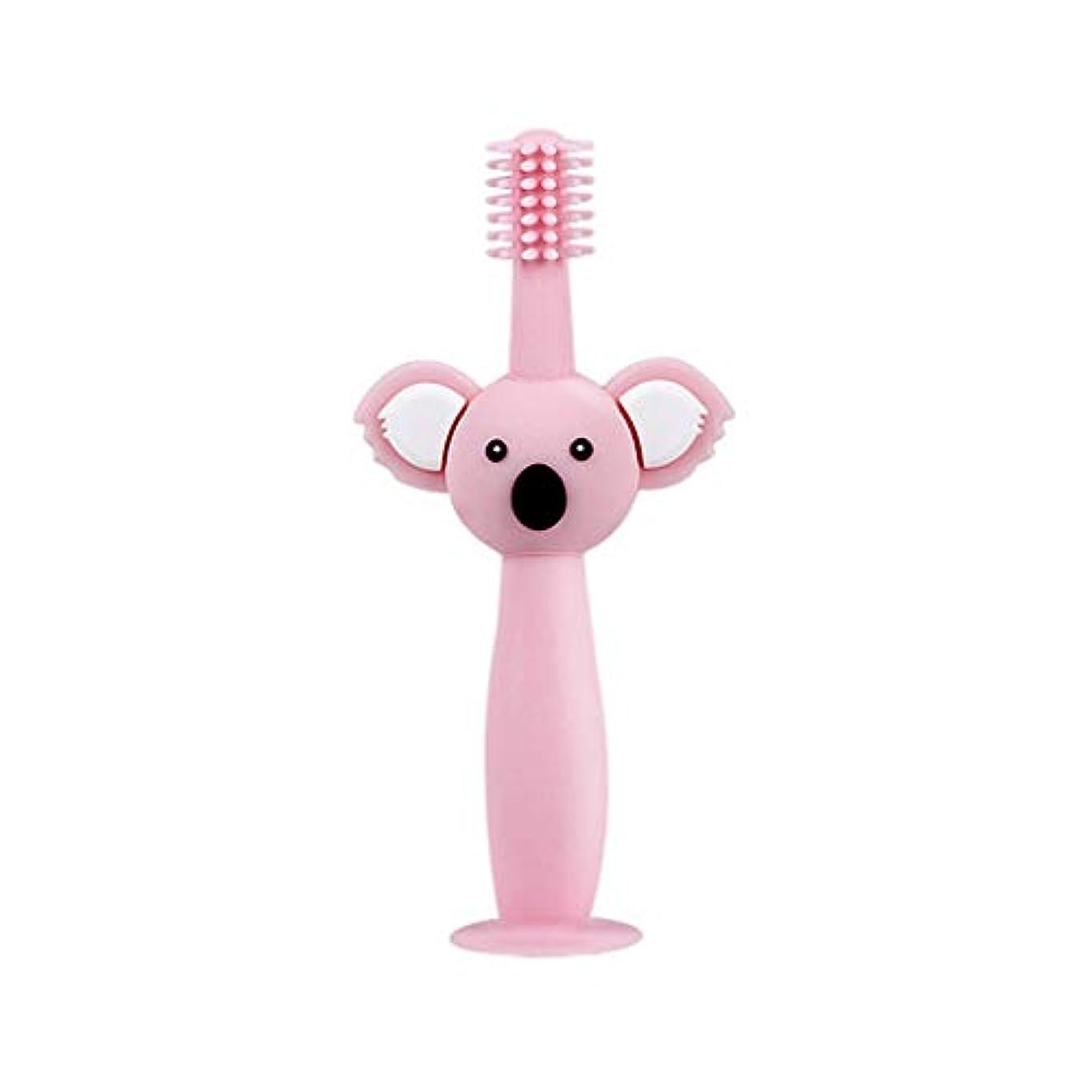 裏切り者是正知るBiuuu 360°赤ちゃん歯ブラシコアラ頭ハンドル幼児ブラッシング歯トレーニング安全なデザインソフト健康シリコーン幼児口腔ケア (ピンク)
