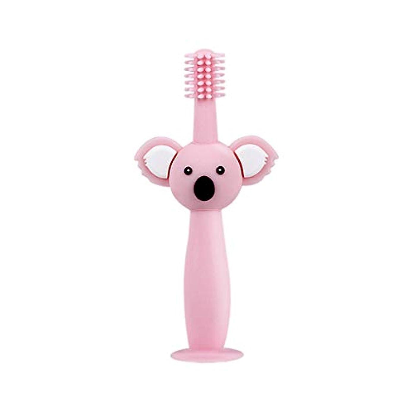ラップトップシャーロットブロンテ性格Biuuu 360°赤ちゃん歯ブラシコアラ頭ハンドル幼児ブラッシング歯トレーニング安全なデザインソフト健康シリコーン幼児口腔ケア (ピンク)
