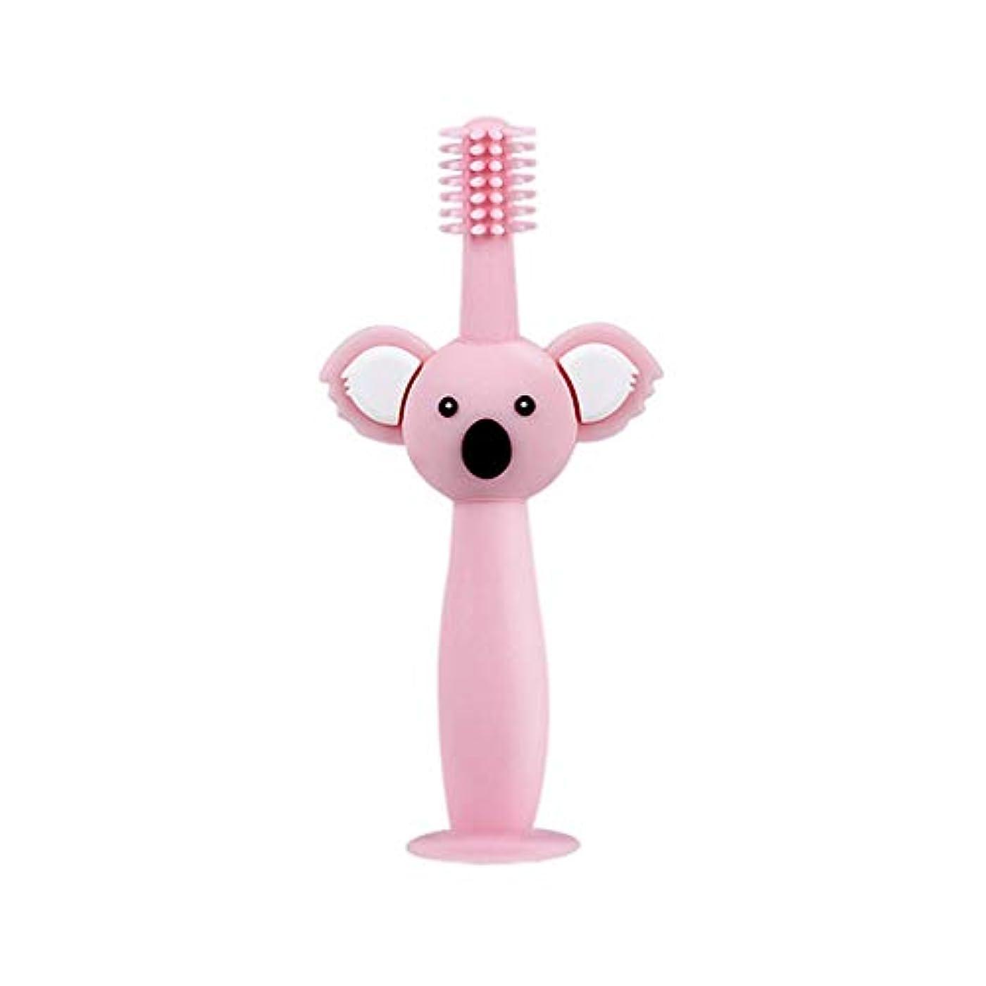 モンゴメリー誰でも梨Biuuu 360°赤ちゃん歯ブラシコアラ頭ハンドル幼児ブラッシング歯トレーニング安全なデザインソフト健康シリコーン幼児口腔ケア (ピンク)