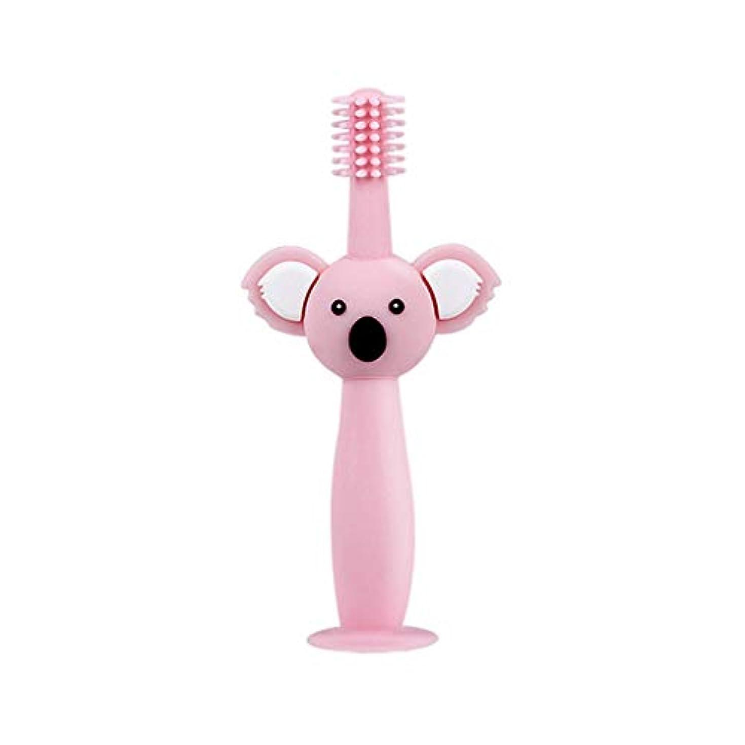 振りかける被る明日Biuuu 360°赤ちゃん歯ブラシコアラ頭ハンドル幼児ブラッシング歯トレーニング安全なデザインソフト健康シリコーン幼児口腔ケア (ピンク)