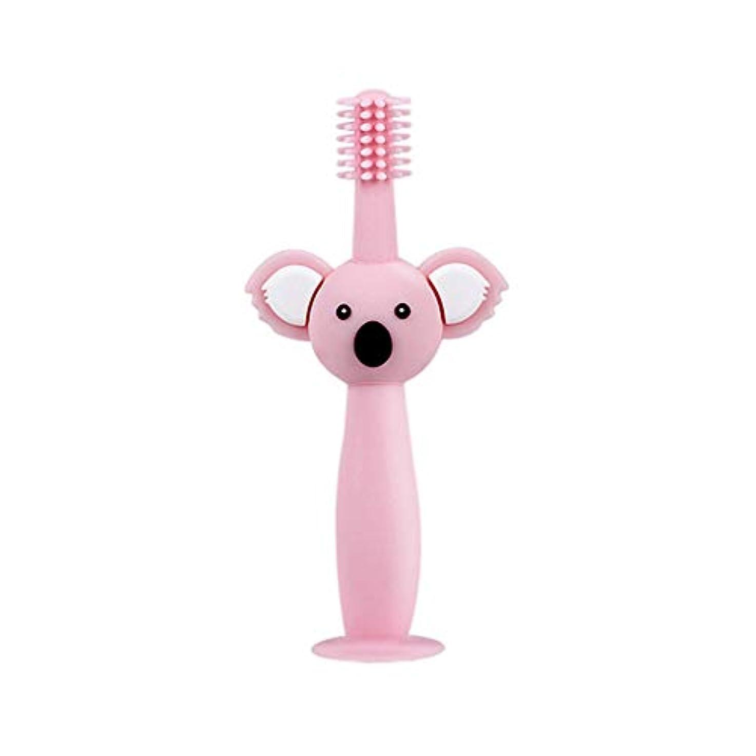 サミットおかしい老朽化したBiuuu 360°赤ちゃん歯ブラシコアラ頭ハンドル幼児ブラッシング歯トレーニング安全なデザインソフト健康シリコーン幼児口腔ケア (ピンク)