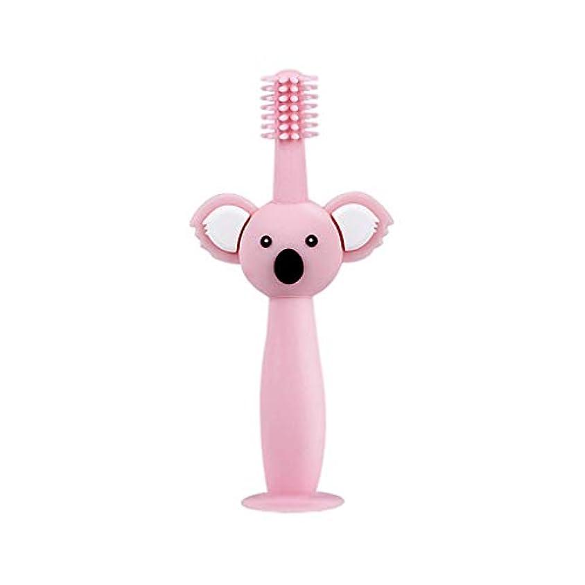 ストッキングイヤホンとてもBiuuu 360°赤ちゃん歯ブラシコアラ頭ハンドル幼児ブラッシング歯トレーニング安全なデザインソフト健康シリコーン幼児口腔ケア (ピンク)