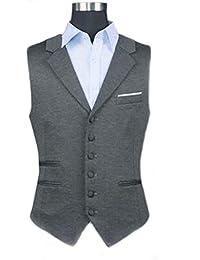 Foxseon メンズ 男性 紳士 シンプル ビジネス Vネック スーツ ベスト ジレ 生地 スリム フィット