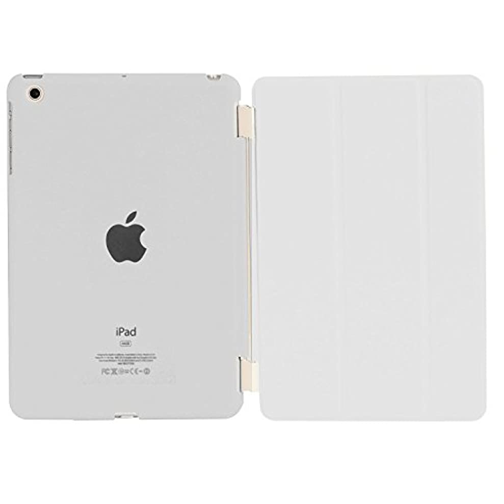 時カストディアン大洪水Asng iPad mini3 / iPad mini2 / iPad mini 超薄型 スタンド仕様 マグネット スマート式 レザー ケース カバー と半透明プラスティック製 バックケース (ホワイト)