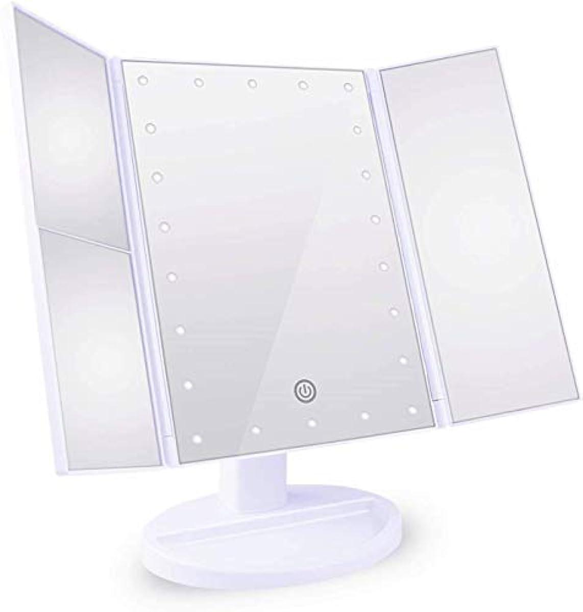 ボクシングはぁカイウス化粧鏡 女優ミラー 三面鏡 Neolly 鏡 led 付き 卓上鏡 化粧ミラー 折りたたみ 明るさ調整可能 2&3倍拡大鏡付 180 °回転 電池&USB 2WAY給電 ホワイト