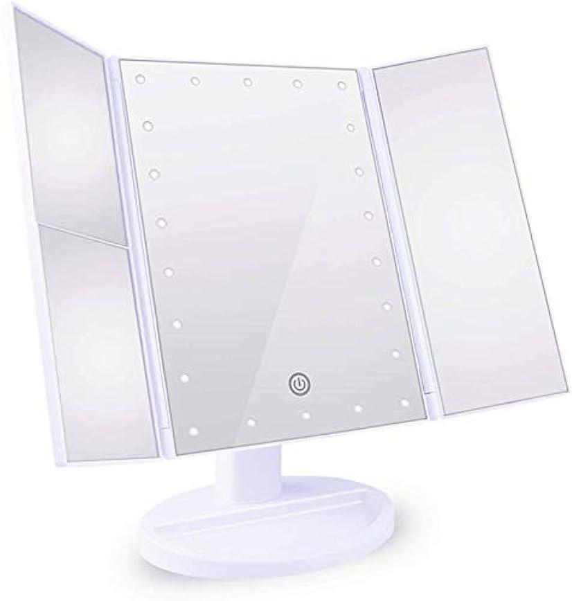 原告平和的続ける化粧鏡 女優ミラー 三面鏡 Neolly 鏡 led 付き 卓上鏡 化粧ミラー 折りたたみ 明るさ調整可能 2&3倍拡大鏡付 180 °回転 電池&USB 2WAY給電 ホワイト