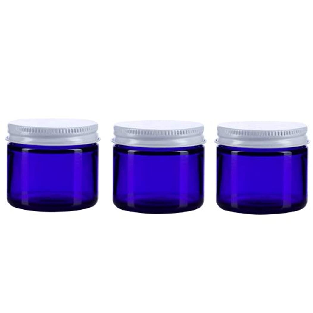 縞模様のアジテーション変装3個セット ガラス 遮光ジャー コバルトブルー 60ml  小分け 保存 詰替え 遮光瓶 ブルー容器【並行輸入品】