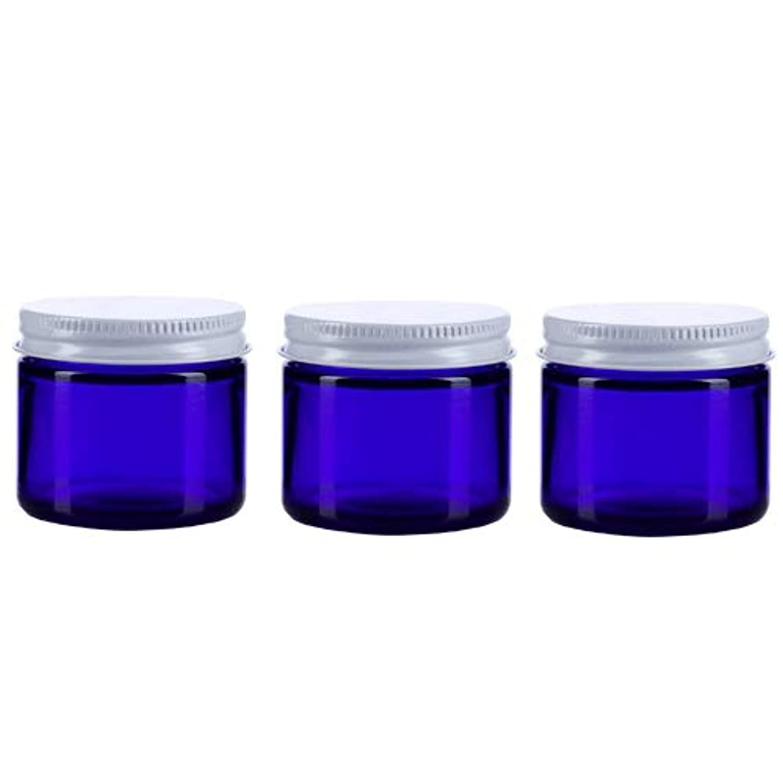 上院議員クリスチャン気球3個セット ガラス 遮光ジャー コバルトブルー 60ml  小分け 保存 詰替え 遮光瓶 ブルー容器【並行輸入品】