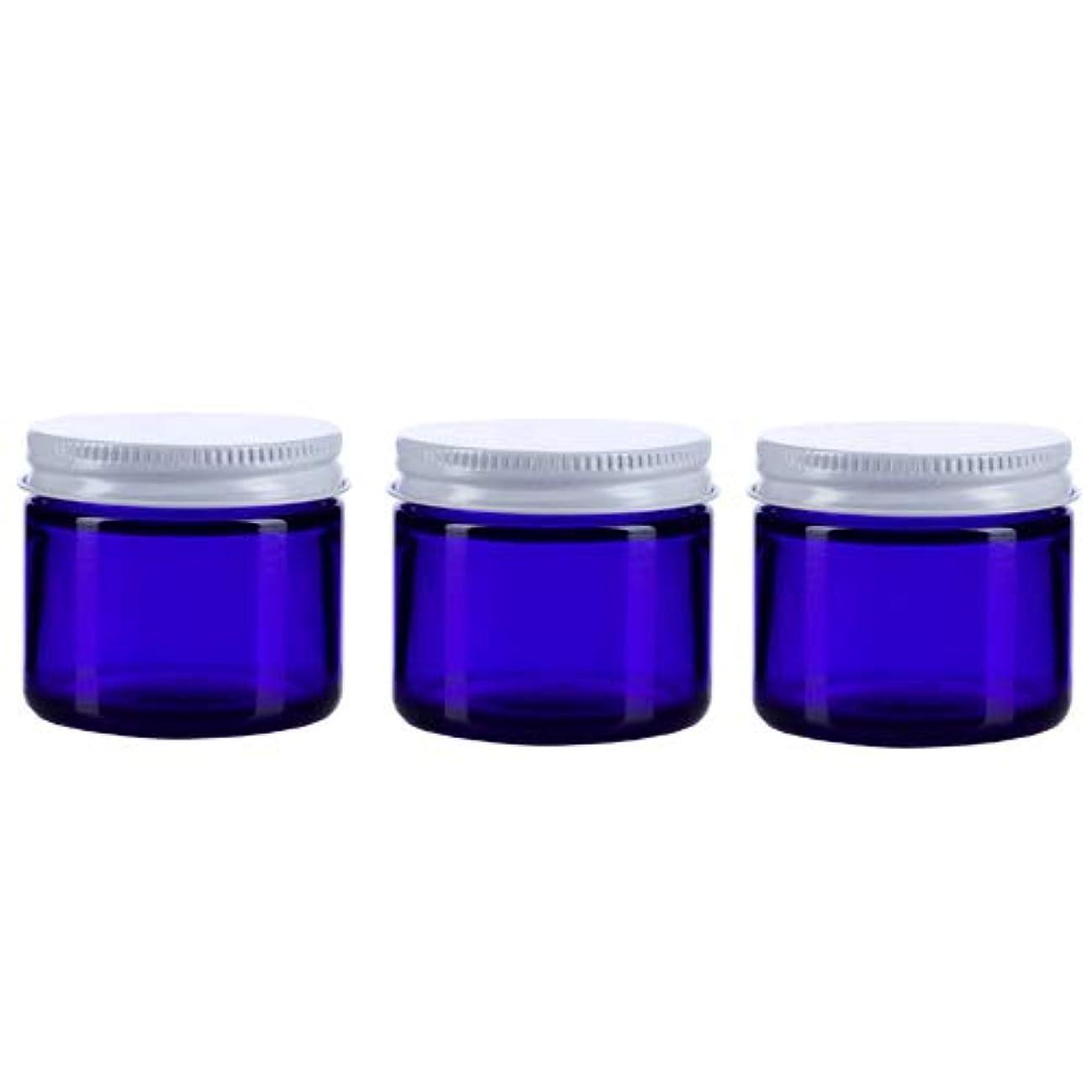 黒人不潔火曜日3個セット ガラス 遮光ジャー コバルトブルー 60ml  小分け 保存 詰替え 遮光瓶 ブルー容器【並行輸入品】
