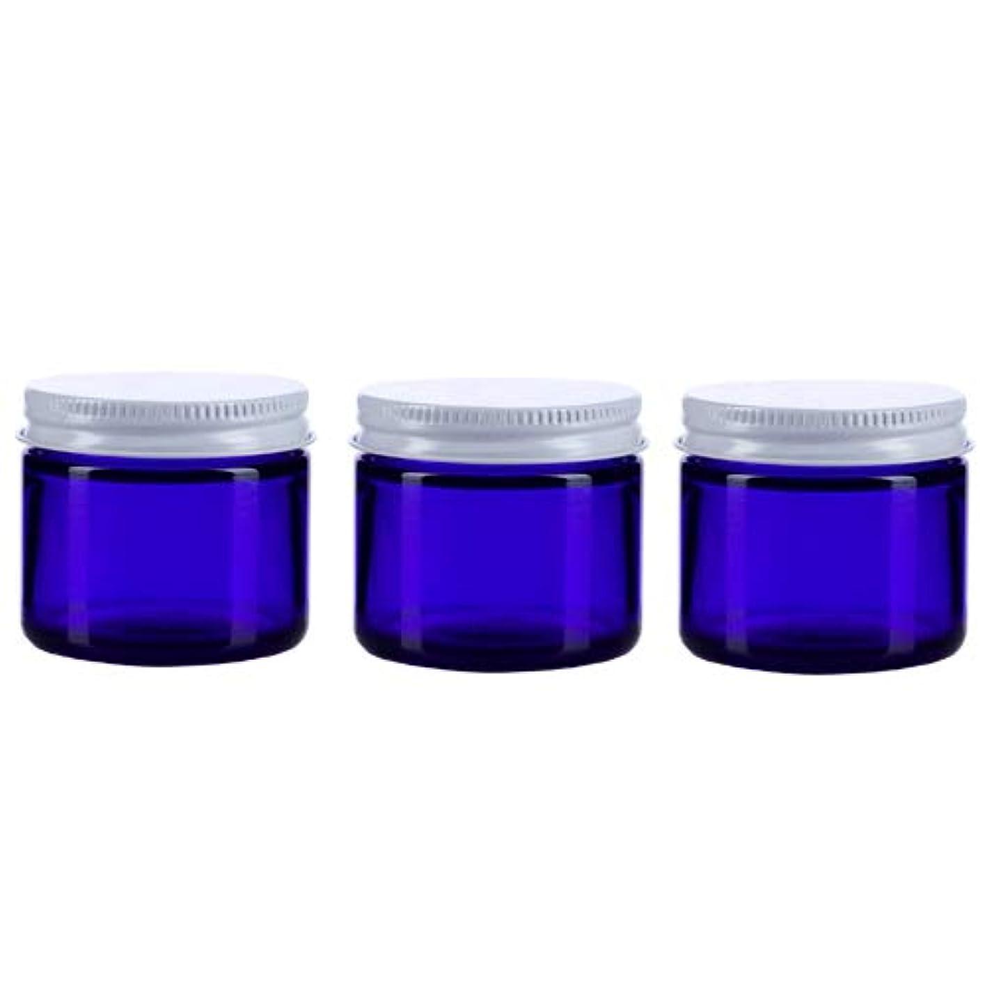 過敏な従事するタービン3個セット ガラス 遮光ジャー コバルトブルー 60ml  小分け 保存 詰替え 遮光瓶 ブルー容器【並行輸入品】