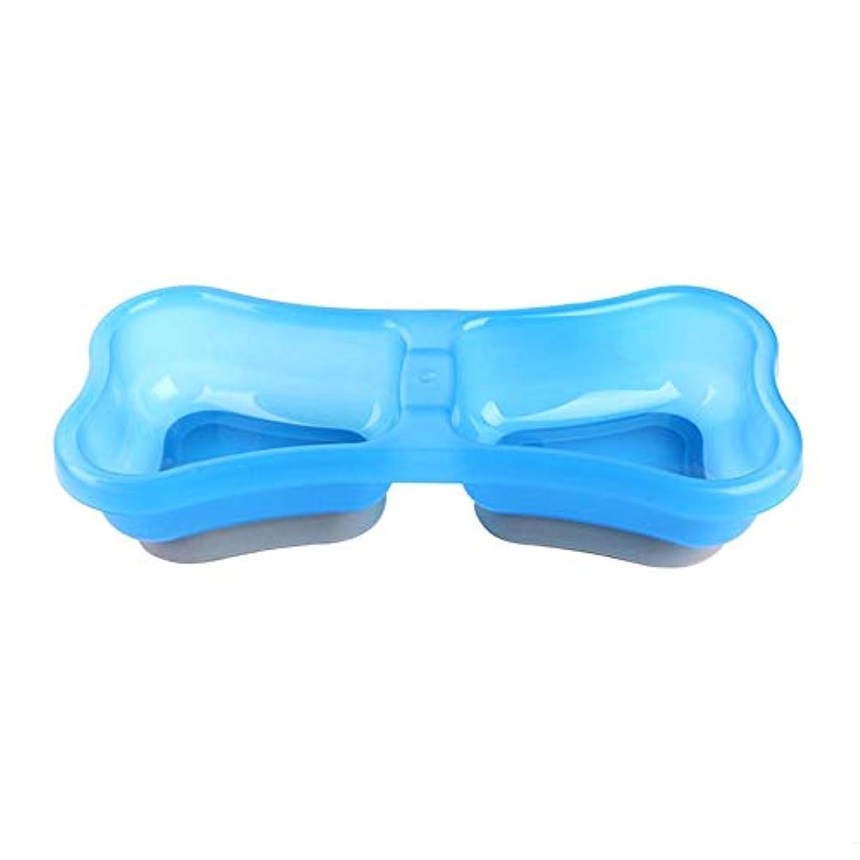 Demiawaking ペット用食器 ペットボウル 犬猫用 お餌入れ 給水 強力吸盤 ダブルボウル付き 高質量 滑り止め付き ペット用品 ライトブルー