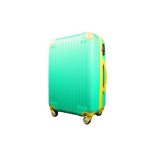 スーツケース/キャリーバッグ 【Lサイズ/大型7~14日】 TSA搭載 軽量 ファスナー グリーン(緑)×イエロー(黄)