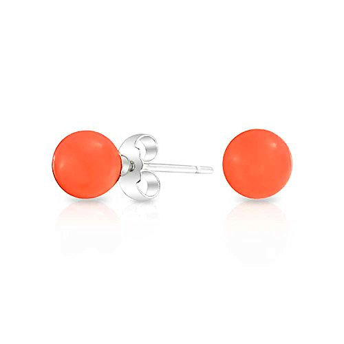 [ブリング・ジュエリー] Bling Jewelryスターリングシルバー SILVER 925 パワーストーン オレンジ 珊瑚 丸玉ピアス 6mm [インポート]