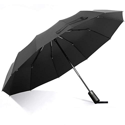 折りたたみ傘 ワンタッチ自動開閉 折り畳み傘 頑丈な12本骨 Teflon加工 210T高強度グラスファイバー 耐風撥水 メンズ傘 117cm 晴雨兼用 男女兼用 (ブラック)