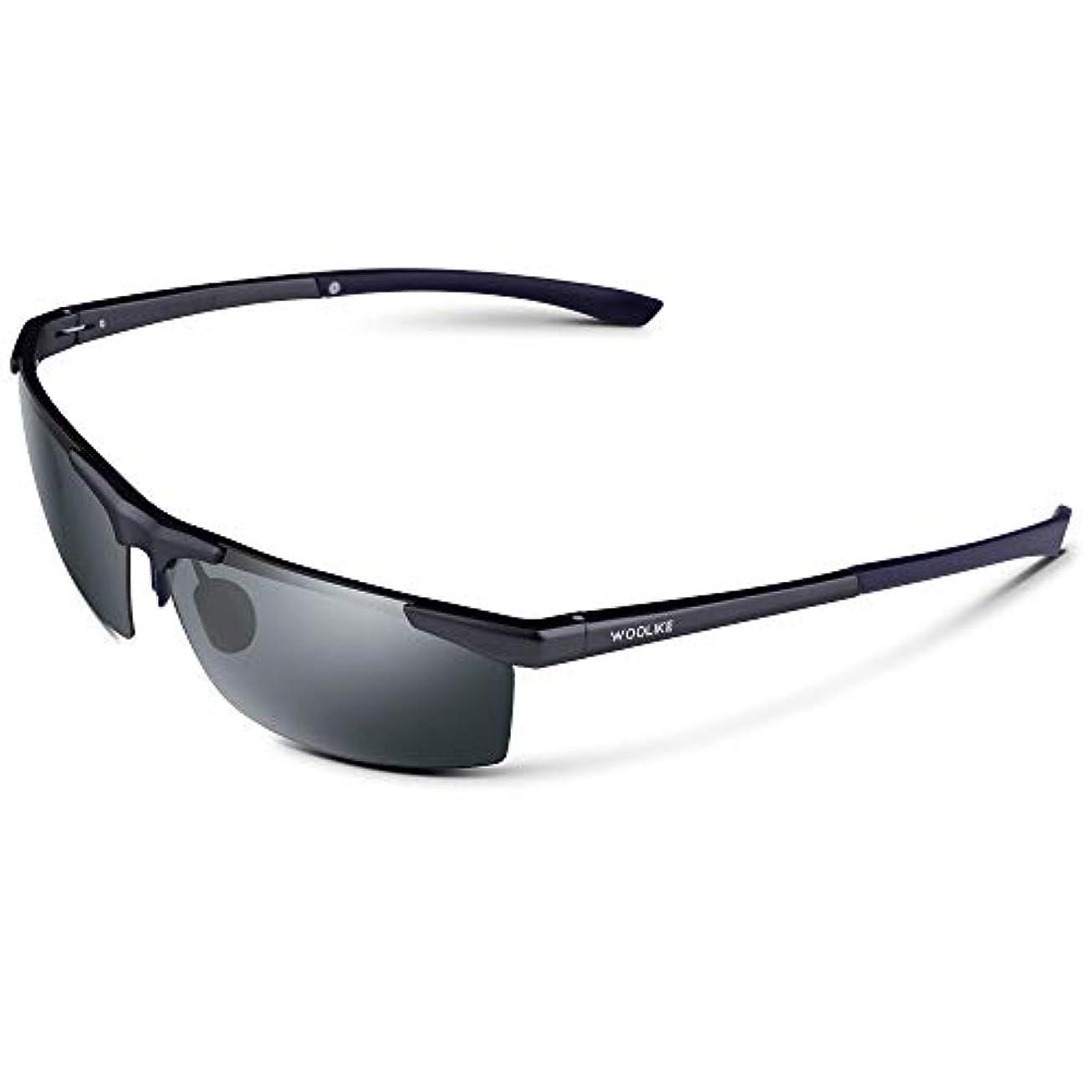 後方にペデスタルトイレWOOLIKE 偏光レンズ スポーツサングラス 超軽量 メンズレディース UV400 紫外線カット アルミ-マグネシウム合金 サングラス 自転車/釣り/野球/テニス/スキー/ランニング/ゴルフ/夜間ドライブ 偏向サングラス W-825