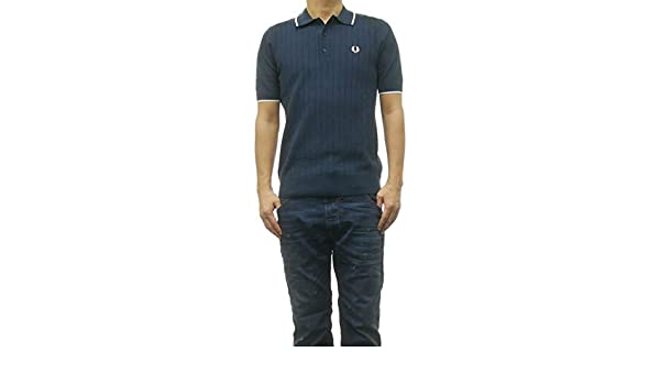 Fred Perry Mens Textured Front Knitted Shirt K5521 E97 Navy S