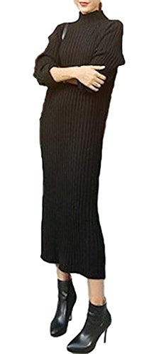 [해외](시 믿어요) SeBeliev 니트 원피스 병목 무릎 길이 긴 소매 리브 니트 넥 캐주얼 쁘띠 플라스틱/(Sea Believe) SeBeliev Knit One Piece Bottle Neck Knee Long Long Sleeve Rib Knit High Neck Casual Petit Poplar