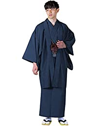 [キョウエツ] 着物セット 洗える 紬生地 袷 アンサンブル2点セット(袷着物、羽織) メンズ