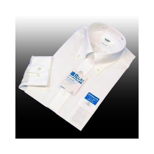 綿100%形態安定「日清紡シャツ」白 ボタンダウン 43-84
