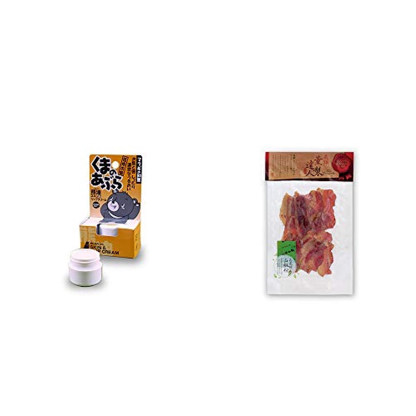 ブレーキ札入れクルー[2点セット] 信州木曽 くまのあぶら 熊油スキン&リップクリーム(9g)?薫製達人 豚バラベーコン燻製(60g)[飛騨山椒付き]